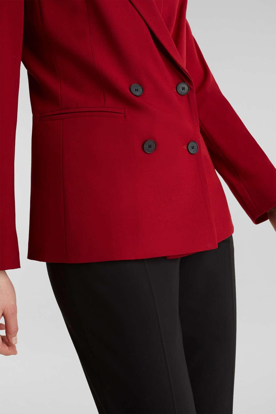 STRETCH FABRIC Mix + Match stretch blazer, DARK RED, detail image number 2