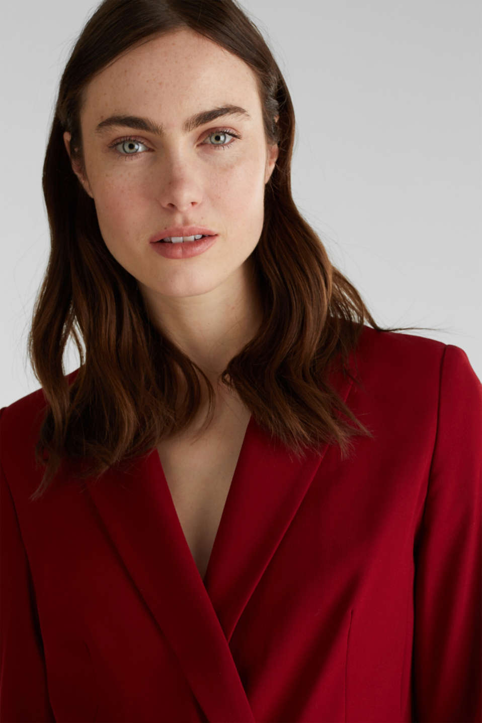 STRETCH FABRIC Mix + Match stretch blazer, DARK RED, detail image number 6