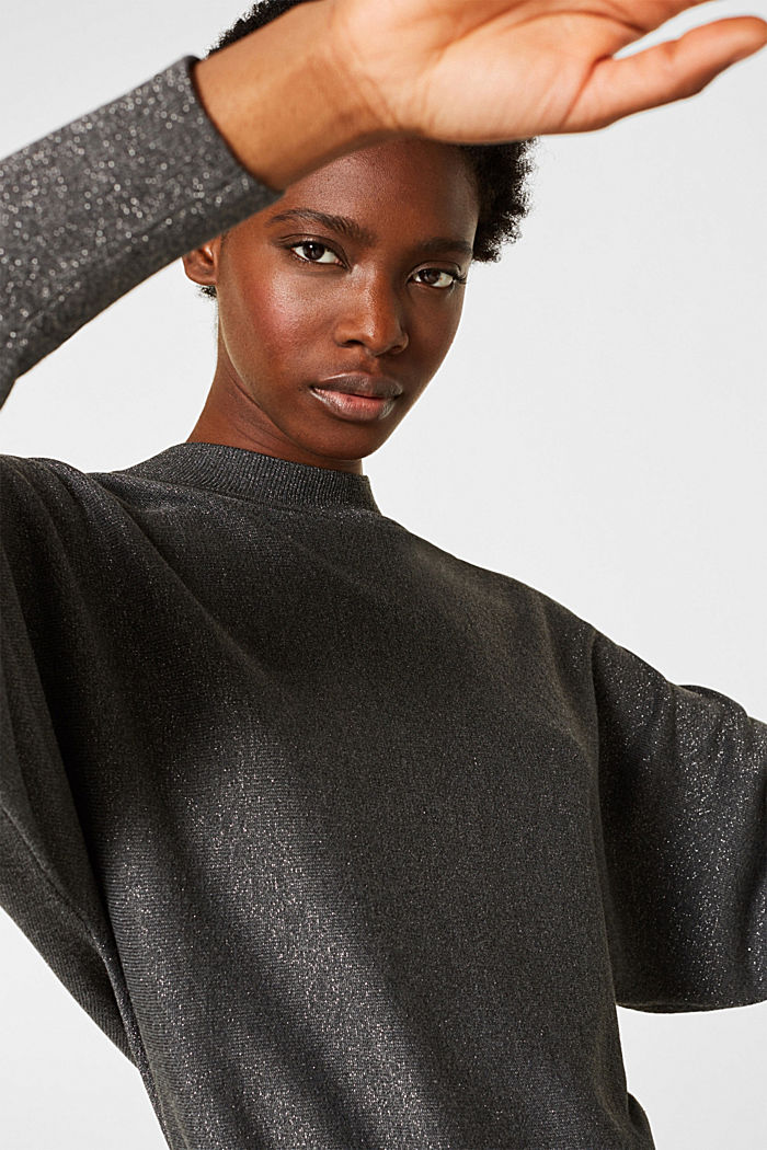 Sparkly jumper with LENZING™ ECOVERO, GUNMETAL, detail image number 7