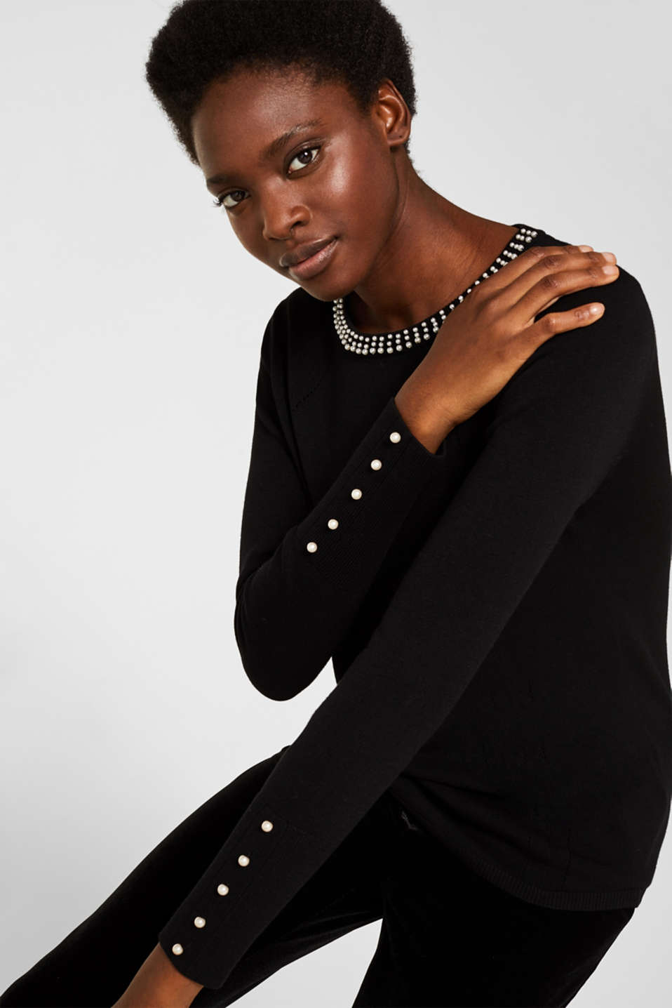Esprit - Jumper with bead embellishments
