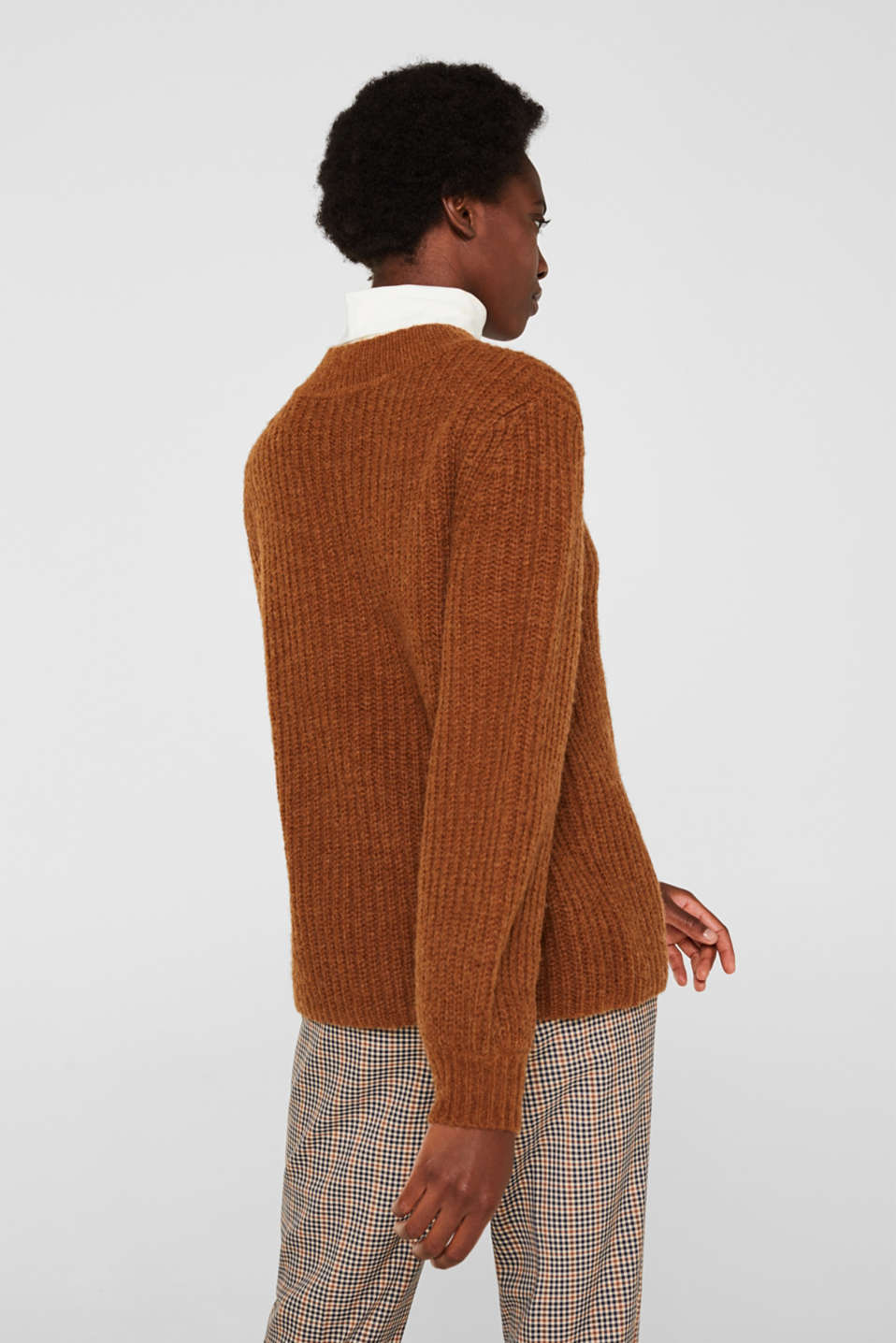 With wool: Ribbed jumper with balloon sleeves, TOFFEE, detail image number 3