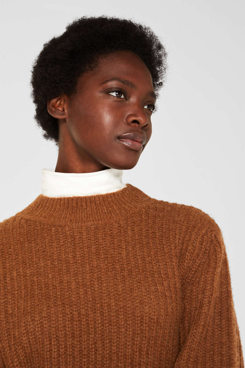 With wool: Ribbed jumper with balloon sleeves, TOFFEE, detail image number 2