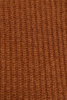 With wool: Ribbed jumper with balloon sleeves, TOFFEE, detail
