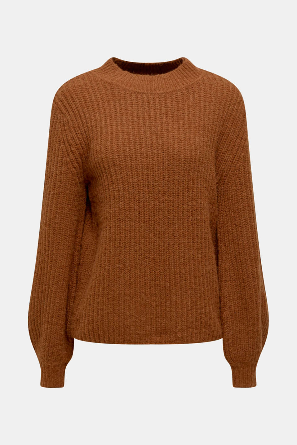 With wool: Ribbed jumper with balloon sleeves, TOFFEE, detail image number 5
