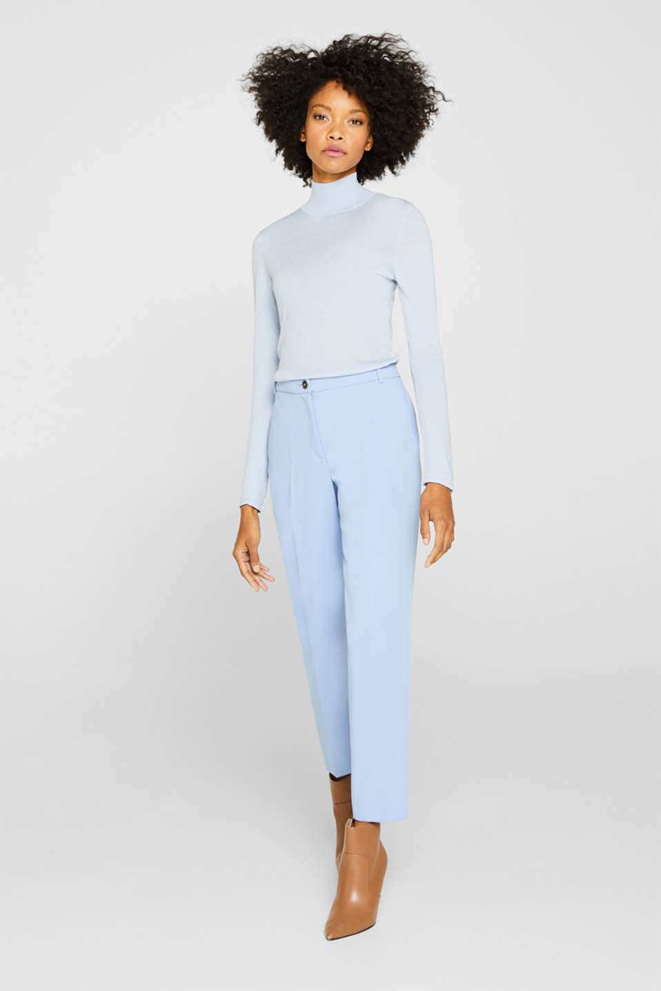 Turtleneck jumper with a touch of cashmere, PASTEL BLUE, detail image number 6
