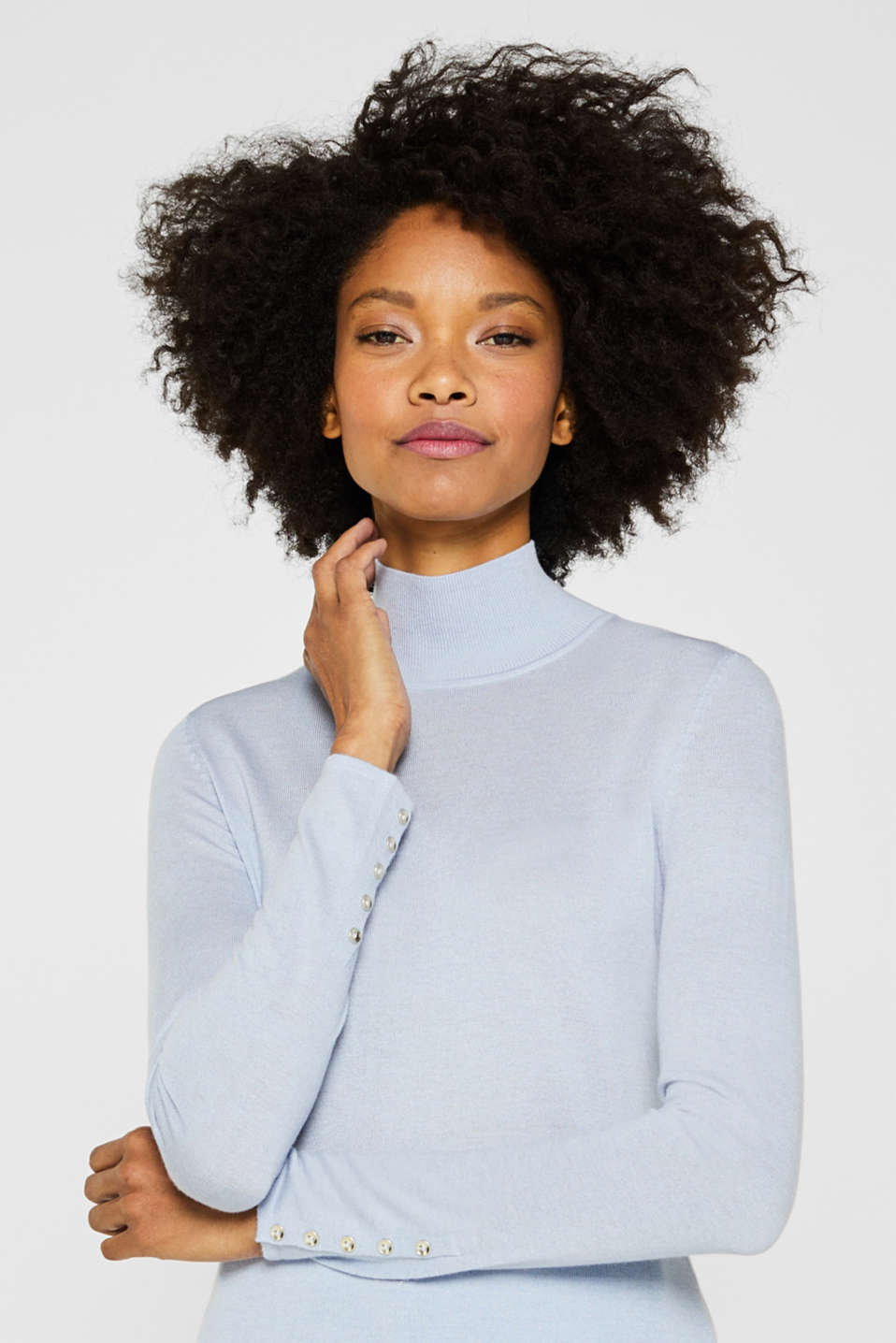 Turtleneck jumper with a touch of cashmere, PASTEL BLUE, detail image number 7