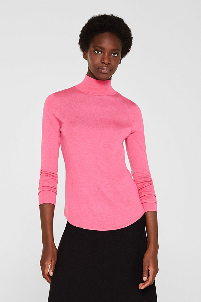 Turtleneck jumper with a touch of cashmere, PINK, detail image number 0
