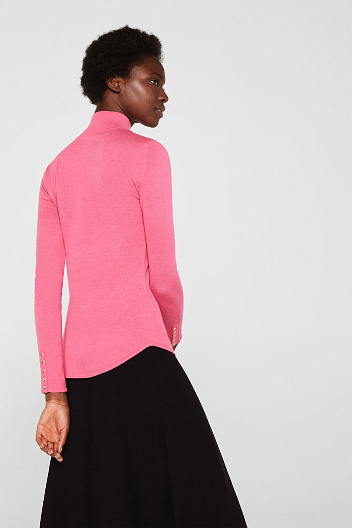 Turtleneck jumper with a touch of cashmere, PINK, detail image number 3