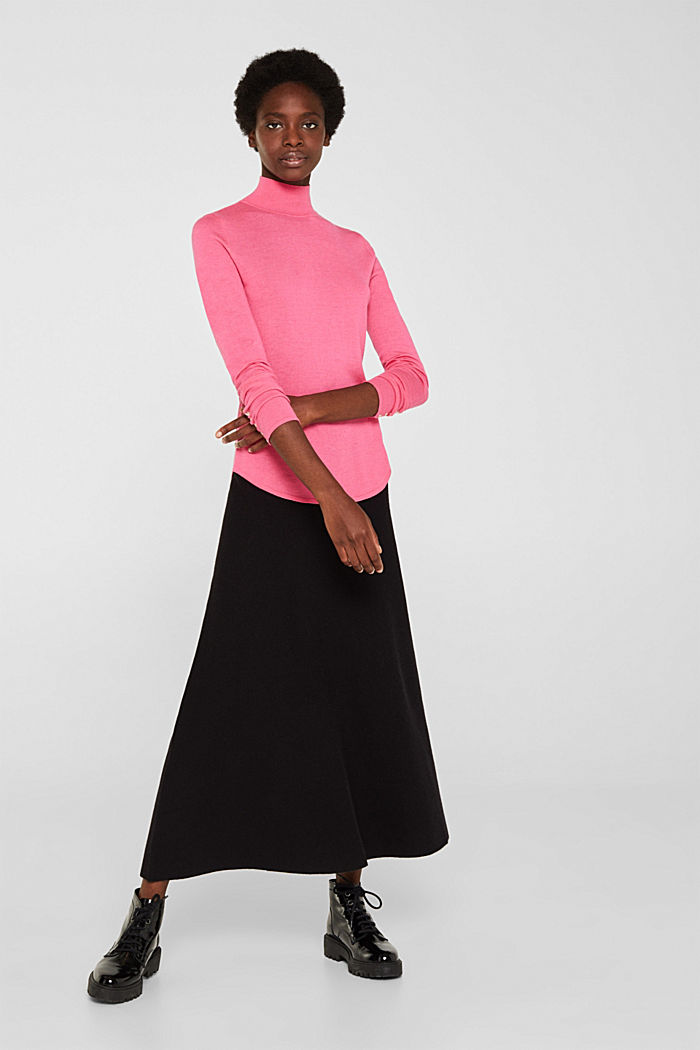 Turtleneck jumper with a touch of cashmere, PINK, detail image number 6