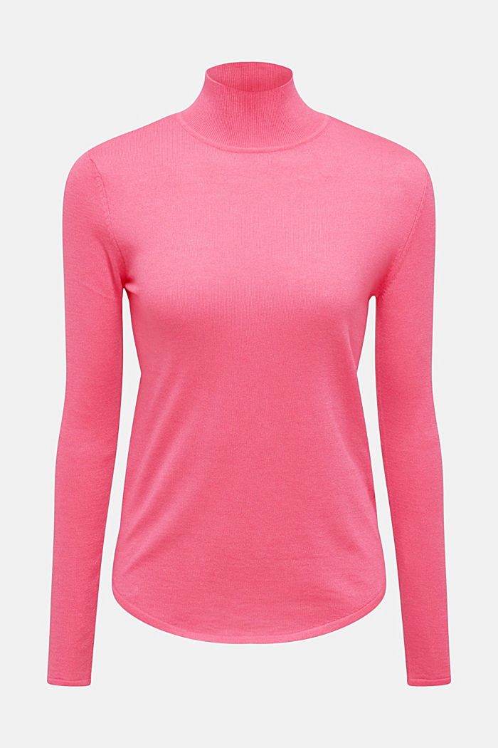 Turtleneck jumper with a touch of cashmere, PINK, detail image number 7