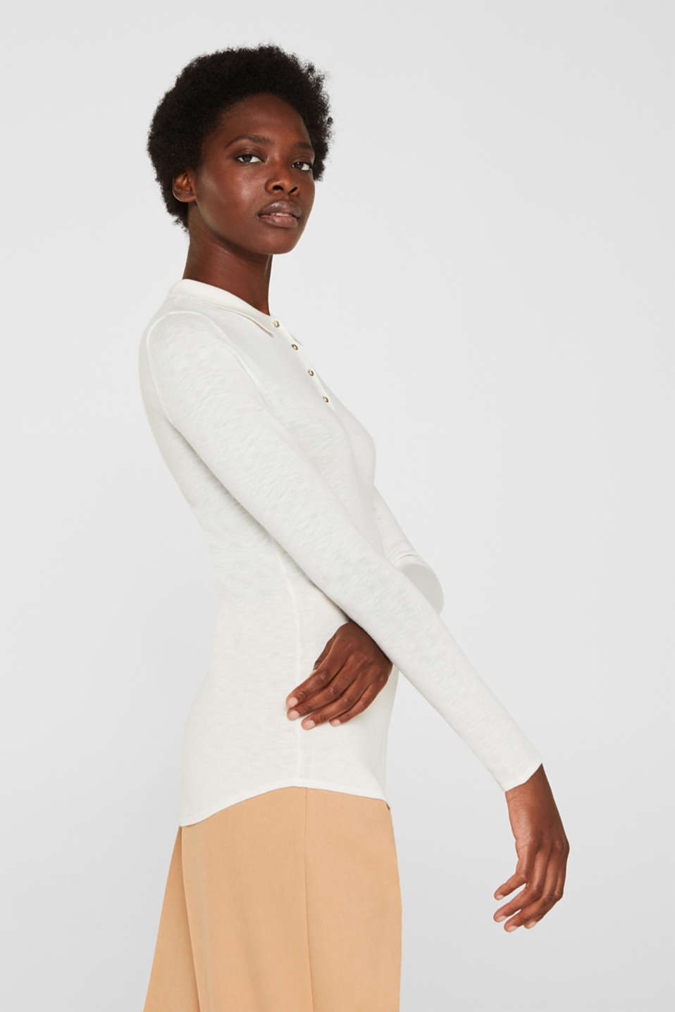 Soft polo jumper with a touch of cashmere, OFF WHITE, detail image number 3