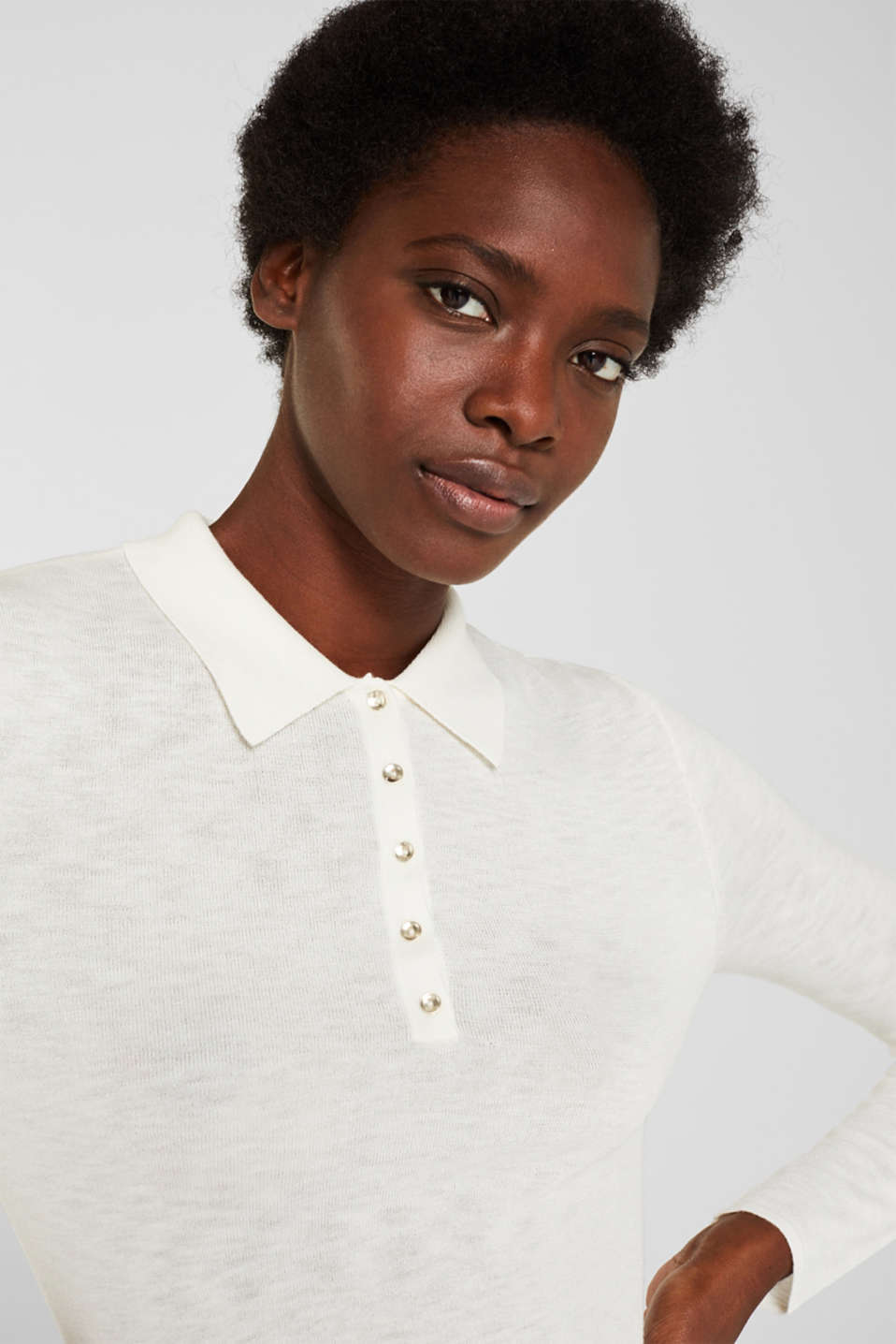 Soft polo jumper with a touch of cashmere, OFF WHITE, detail image number 6