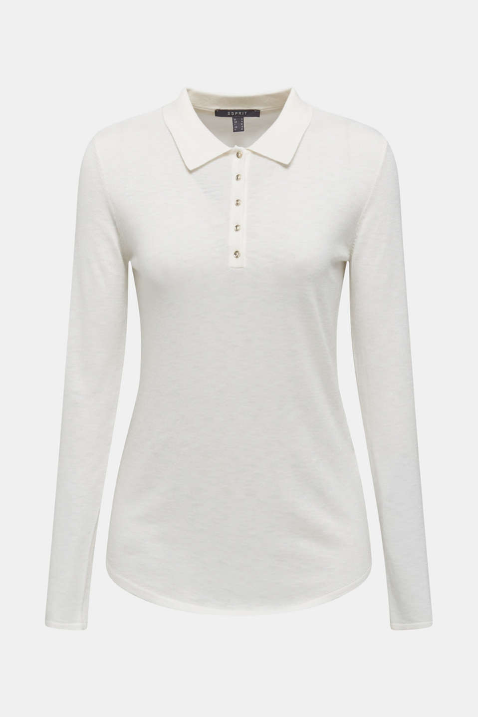 Soft polo jumper with a touch of cashmere, OFF WHITE, detail image number 7