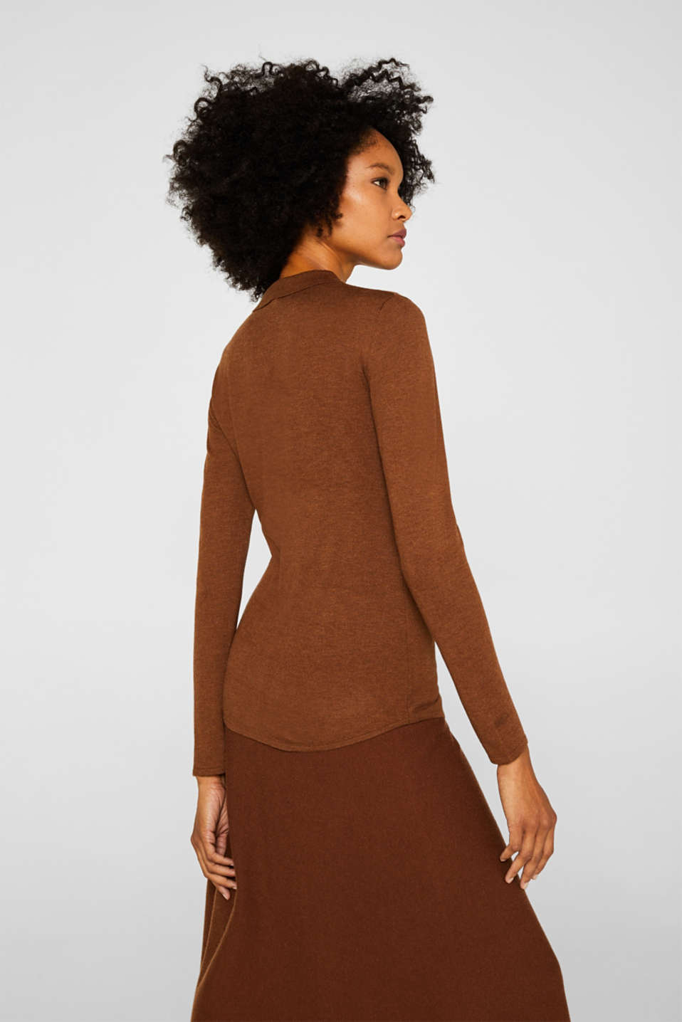 Soft polo jumper with a touch of cashmere, TOFFEE, detail image number 3