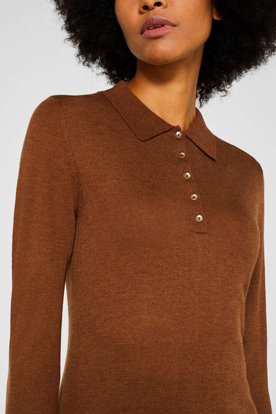 Soft polo jumper with a touch of cashmere, TOFFEE, detail image number 2