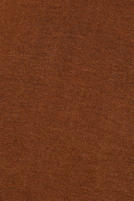 Soft polo jumper with a touch of cashmere, TOFFEE, detail