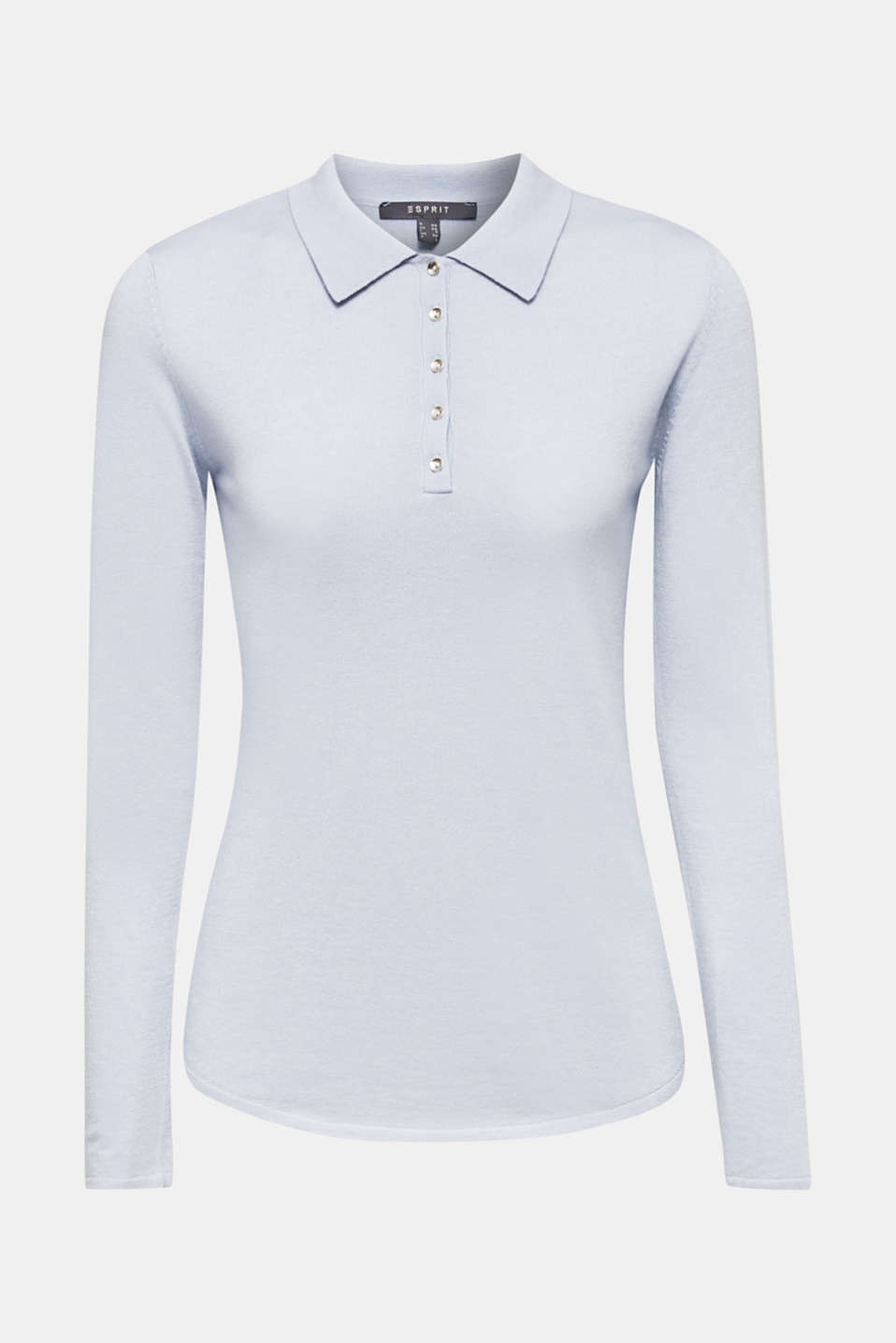 Soft polo jumper with a touch of cashmere, PASTEL BLUE, detail image number 6