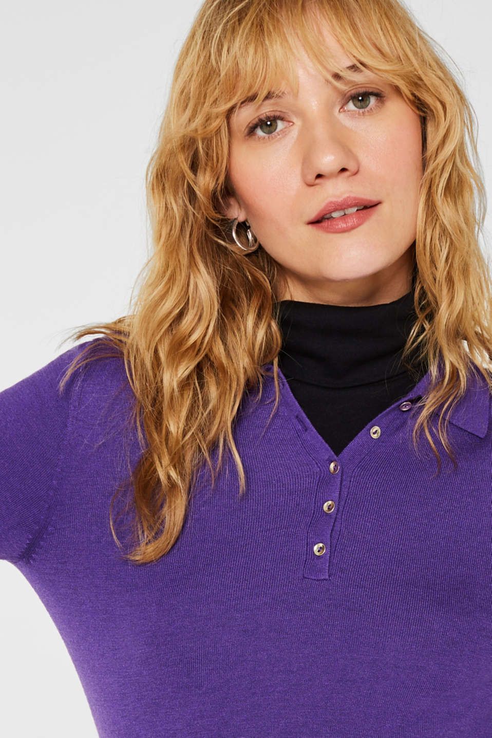 Soft polo jumper with a touch of cashmere