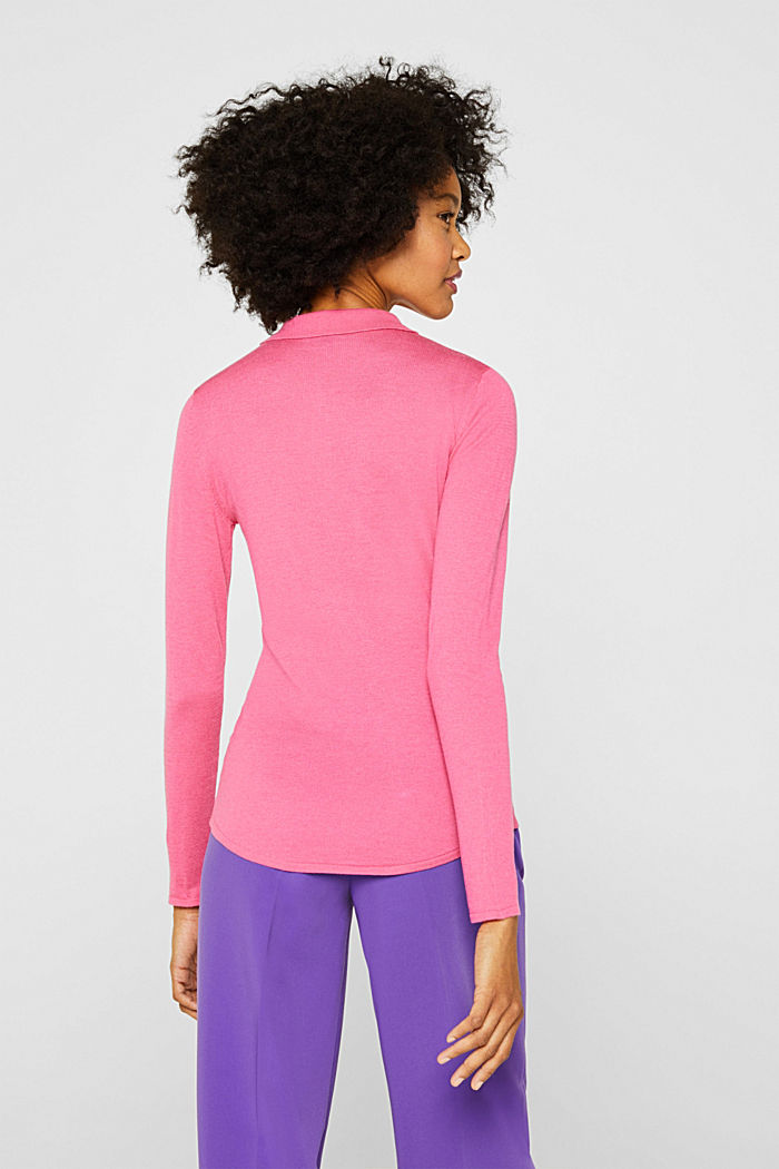 Soft polo jumper with a touch of cashmere, PINK, detail image number 3