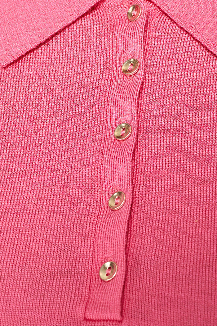 Soft polo jumper with a touch of cashmere, PINK, detail image number 4