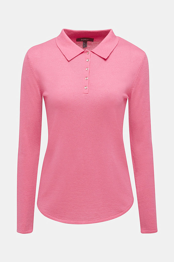 Soft polo jumper with a touch of cashmere, PINK, detail image number 7
