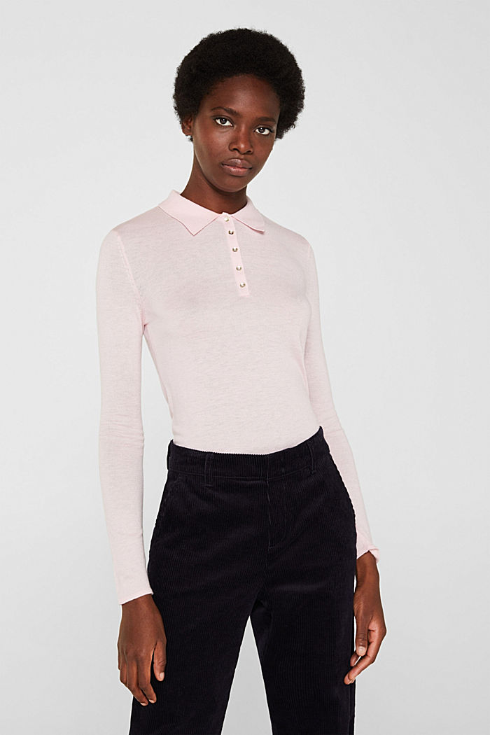 Soft polo jumper with a touch of cashmere, LIGHT PINK, detail image number 0