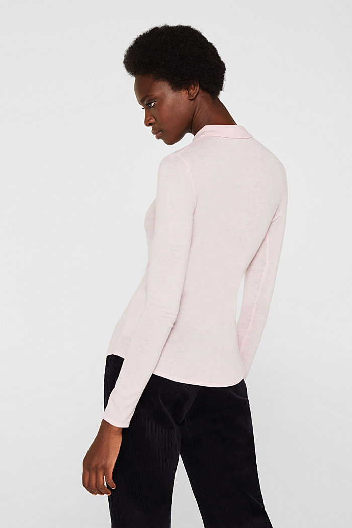 Soft polo jumper with a touch of cashmere, LIGHT PINK, detail image number 3