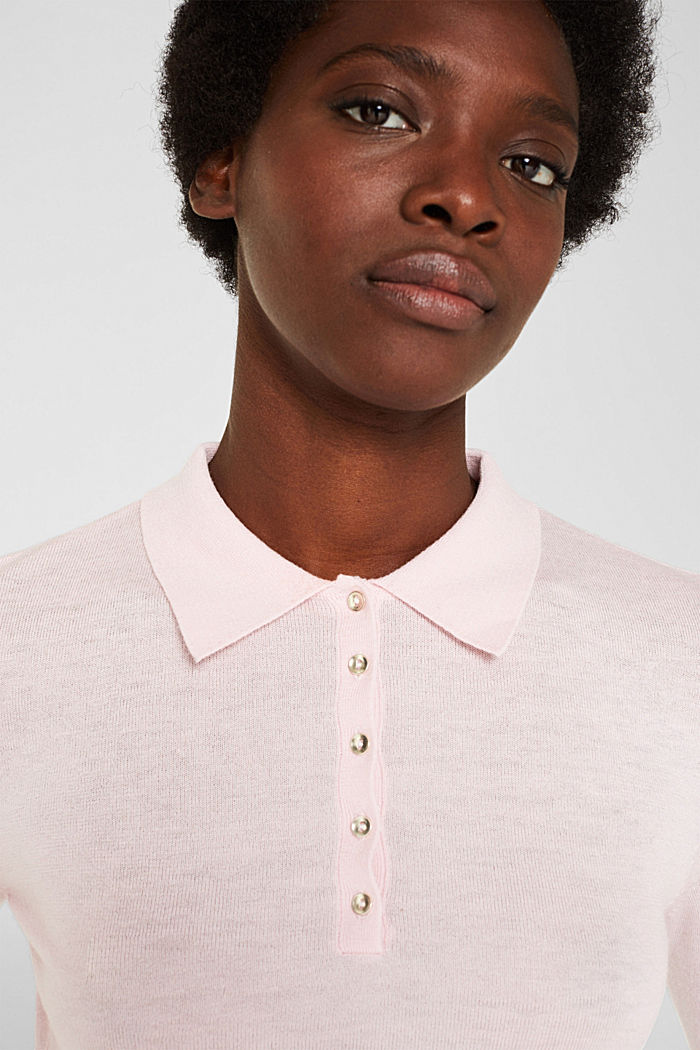 Soft polo jumper with a touch of cashmere, LIGHT PINK, detail image number 2