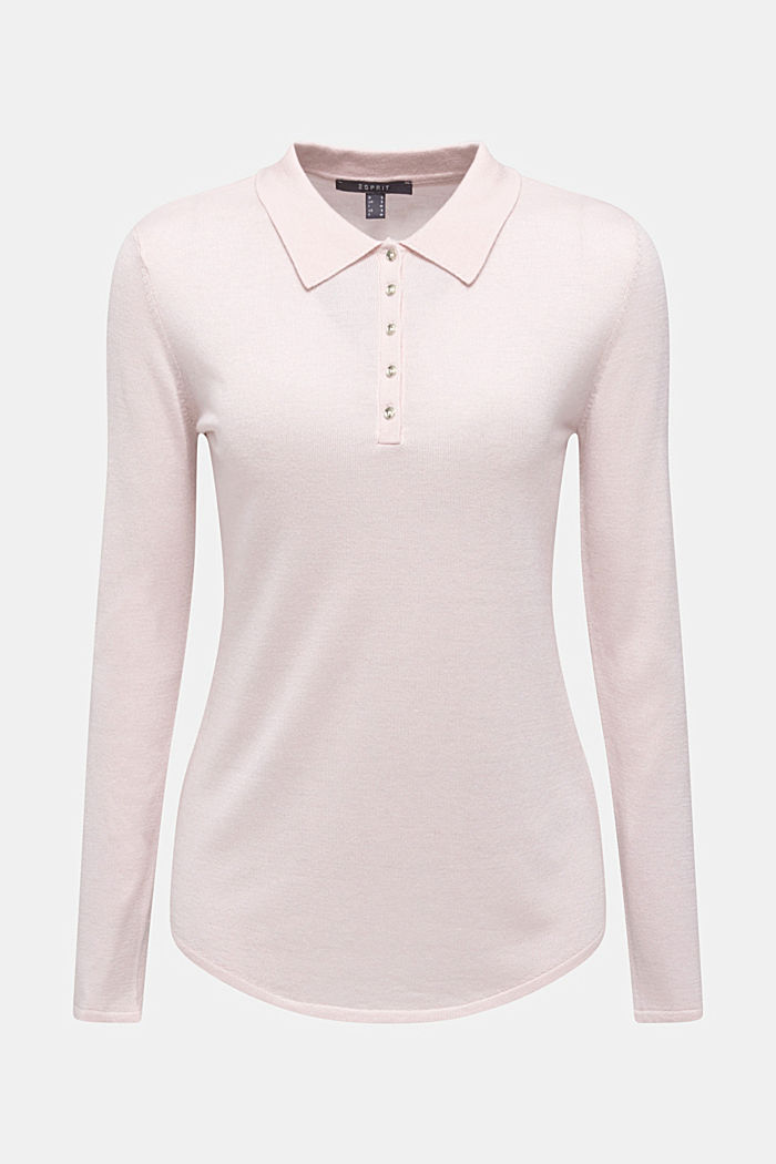 Soft polo jumper with a touch of cashmere, LIGHT PINK, detail image number 6