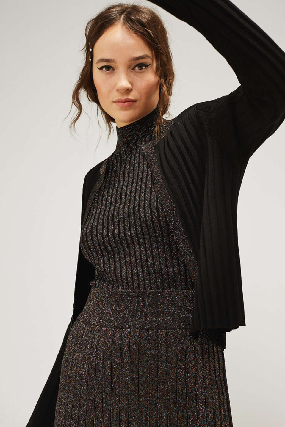 Esprit - Glittering pleated knit bolero