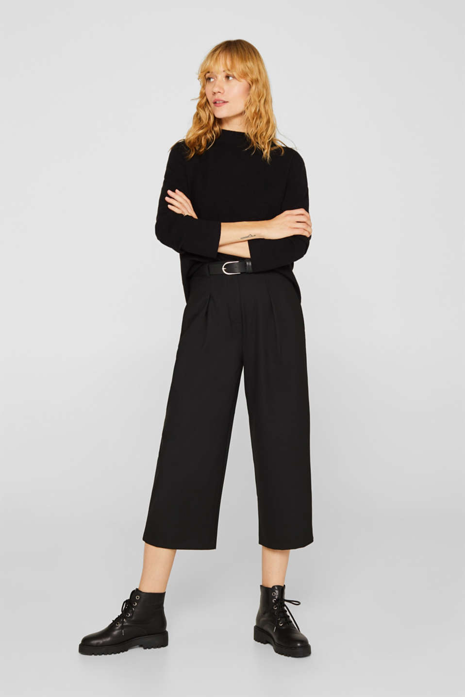 Band collar jumper with a boxy shape, BLACK, detail