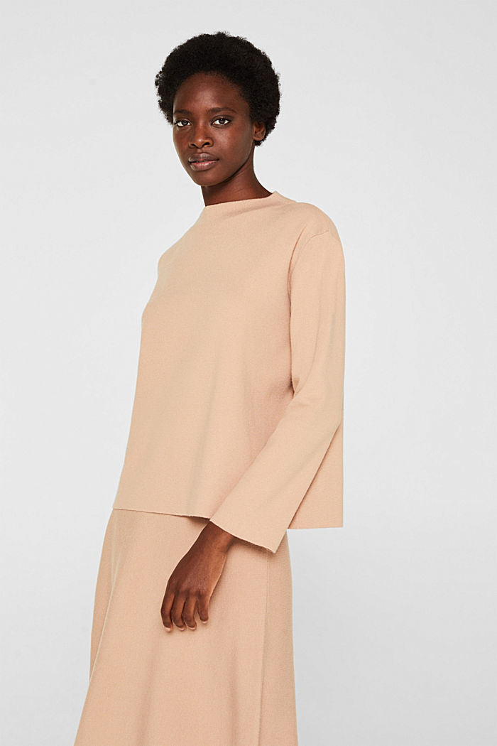 Band collar jumper with a boxy shape, LIGHT BEIGE, detail image number 0