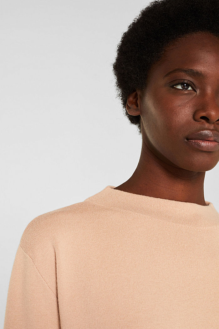 Band collar jumper with a boxy shape, LIGHT BEIGE, detail image number 2