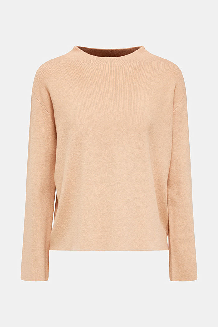 Band collar jumper with a boxy shape, LIGHT BEIGE, detail image number 6