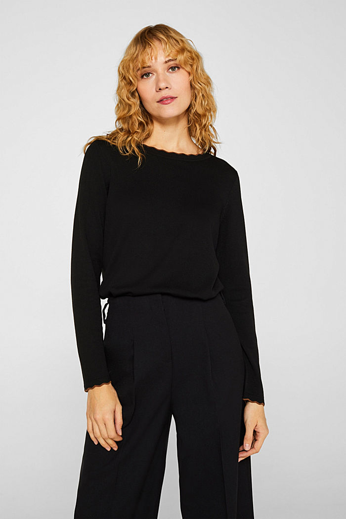 With cashmere: Jumper with wavy edges, BLACK, detail image number 0