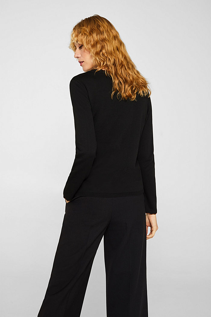 With cashmere: Jumper with wavy edges, BLACK, detail image number 3