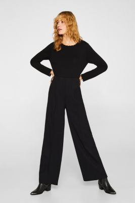 With cashmere: Jumper with wavy edges, BLACK 2, detail