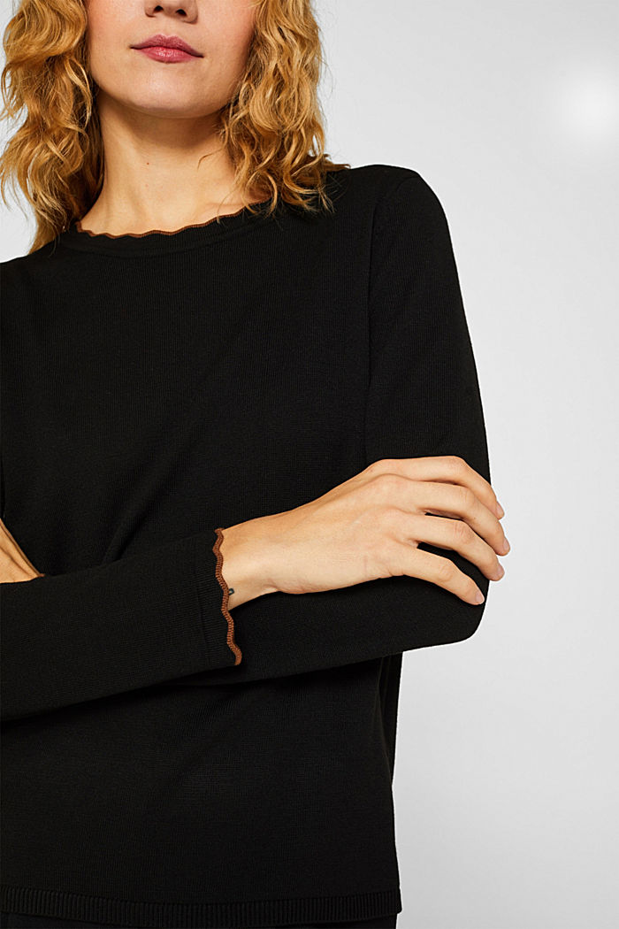With cashmere: Jumper with wavy edges, BLACK, detail image number 2