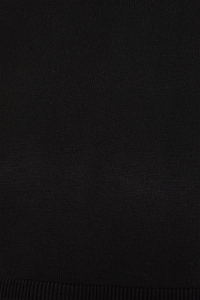With cashmere: Jumper with wavy edges, BLACK, detail image number 4