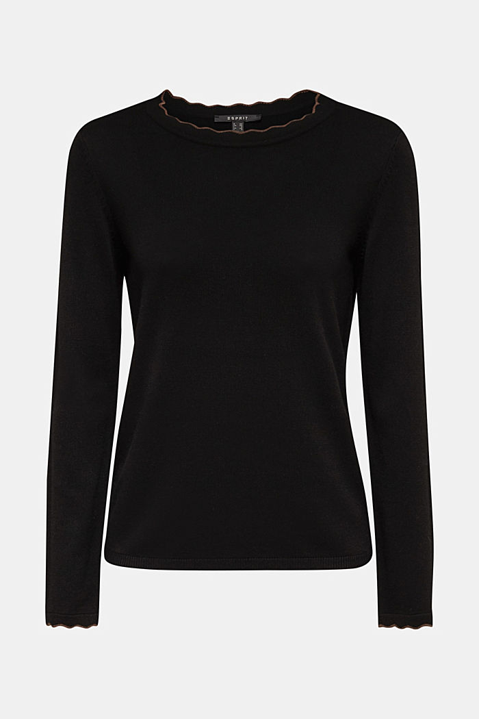 With cashmere: Jumper with wavy edges, BLACK, detail image number 5