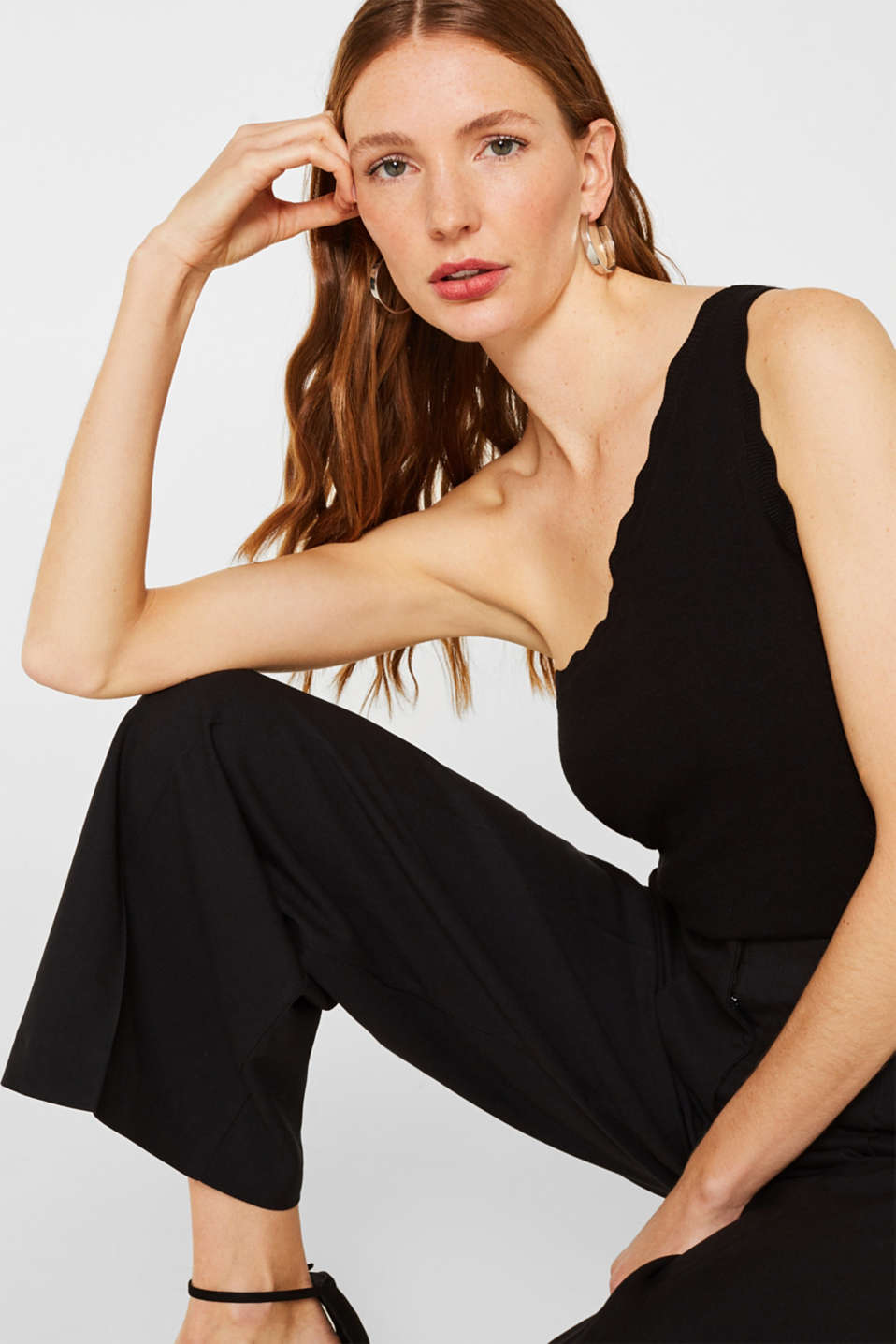 Esprit - Fijngebreide one-shoulder-top