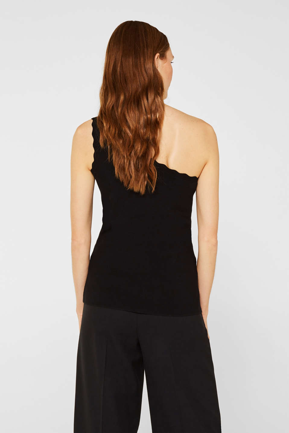 One-shoulder fine knit top, BLACK, detail image number 3