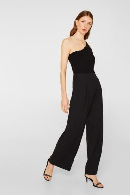 One-shoulder fine knit top, BLACK, detail