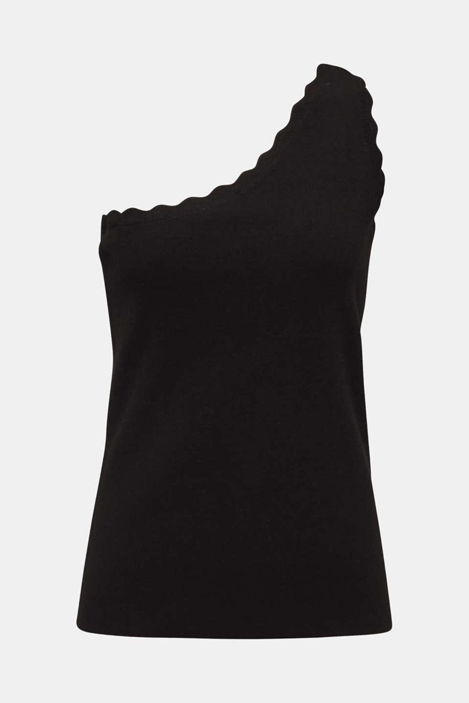 One-shoulder fine knit top, BLACK, detail image number 5