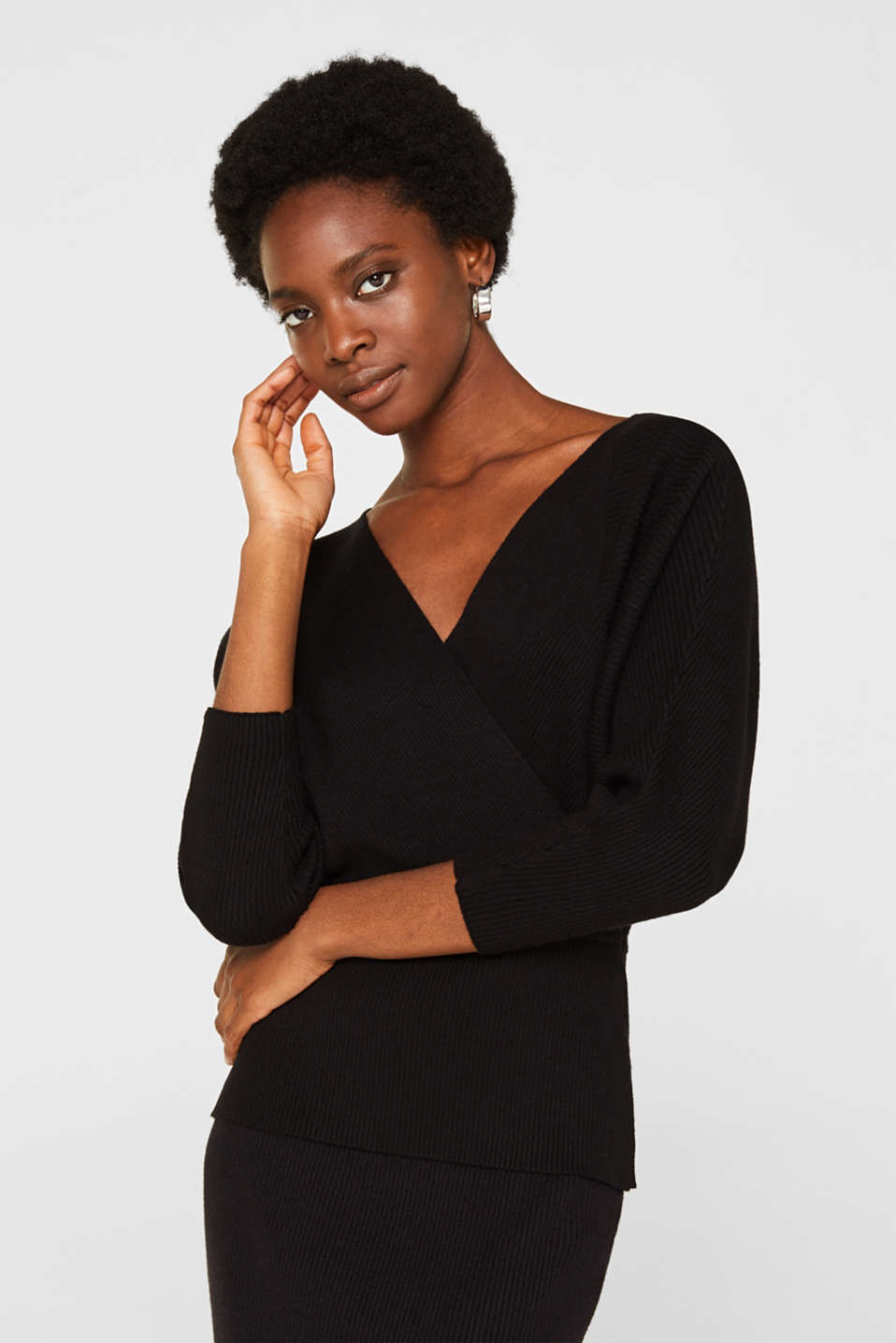 Wrap jumper with batwing sleeves, BLACK, detail image number 0