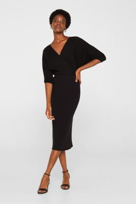Wrap jumper with batwing sleeves, BLACK, detail
