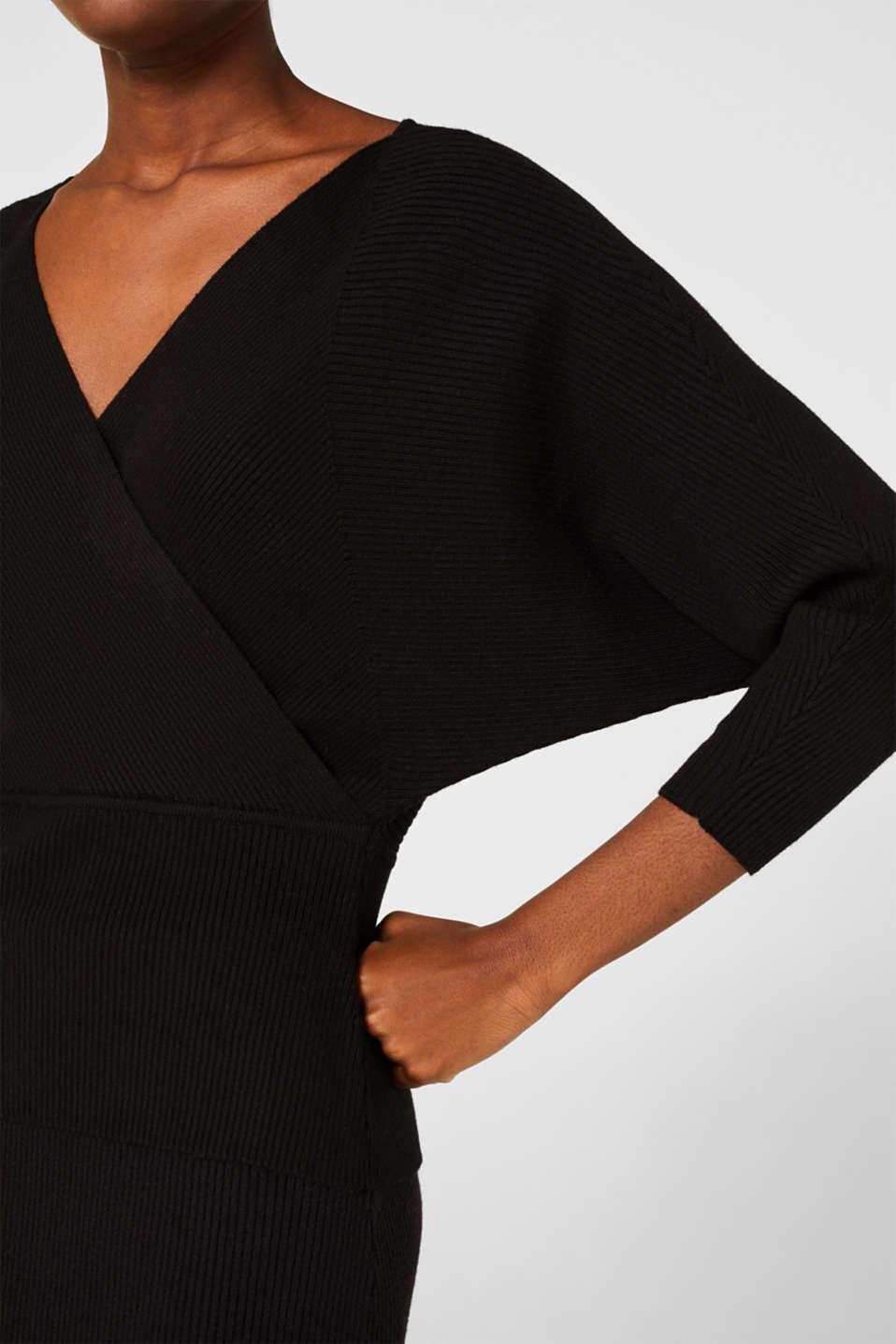 Wrap jumper with batwing sleeves, BLACK, detail image number 2