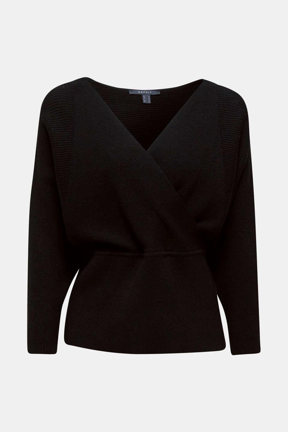 Wrap jumper with batwing sleeves, BLACK, detail image number 6