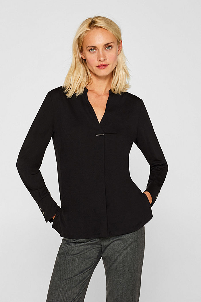 Long sleeve top in a blouse style, blended lyocell, BLACK, detail image number 0