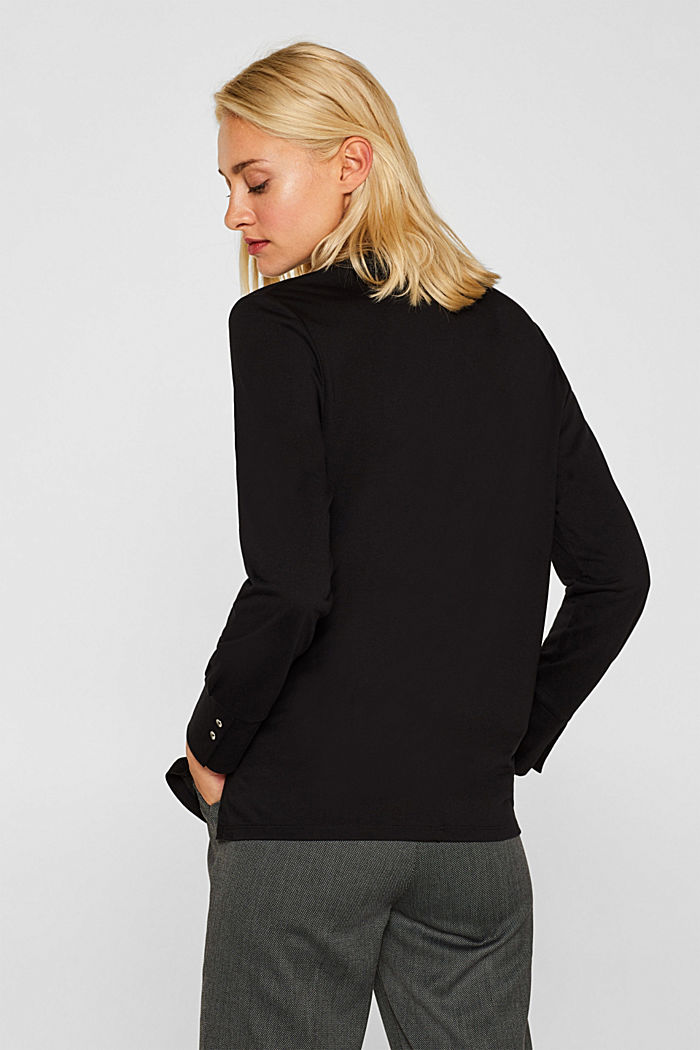 Long sleeve top in a blouse style, blended lyocell, BLACK, detail image number 3